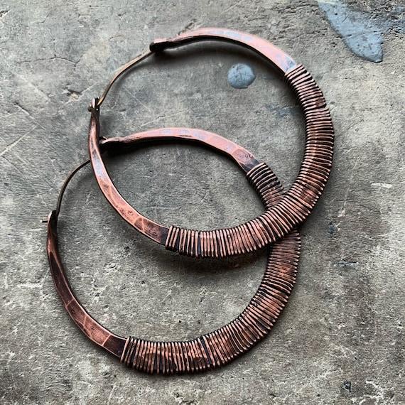 Copper and Pearl Hoop Earrings Wire Wrap Earrings Large Hoop Earrings Rustic Jewelry Daniellerosebean Big Copper Hoops