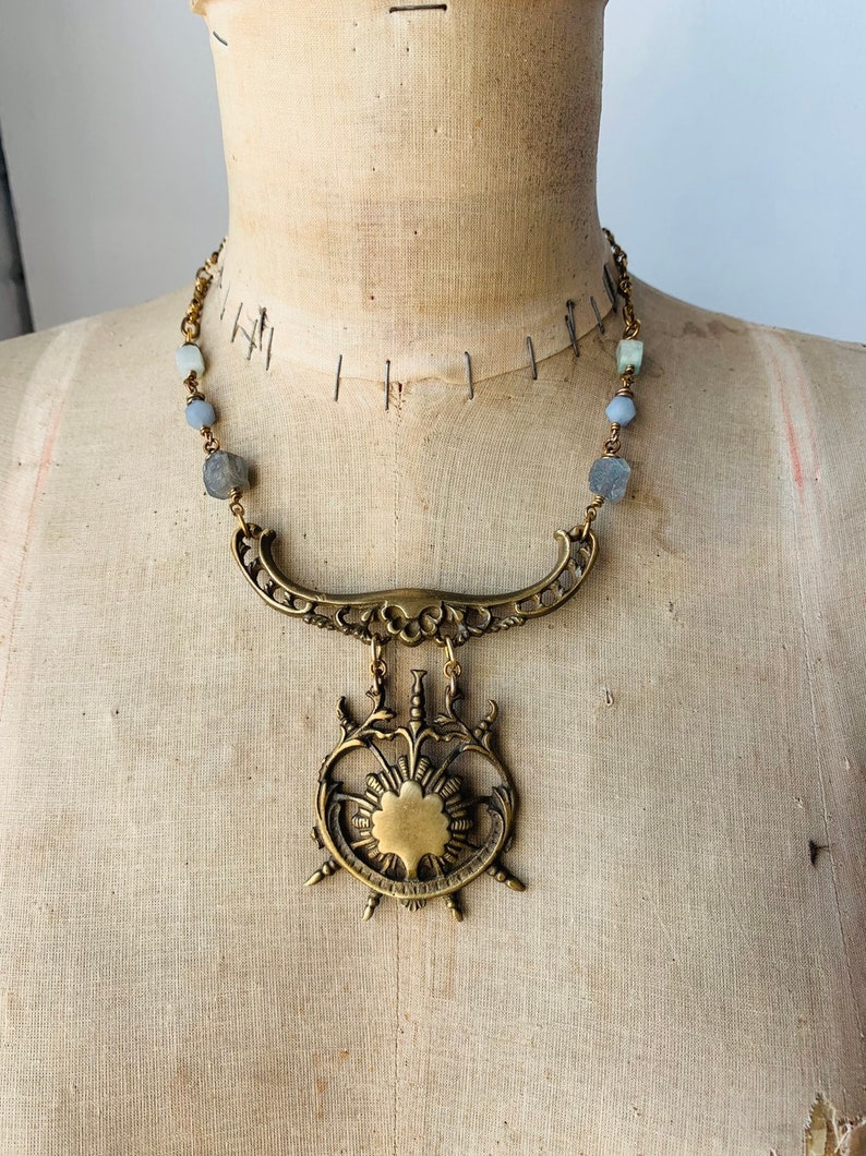 Statement Necklace / Healing Stones / Brass / Tribal Necklace image 0