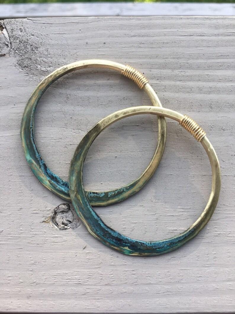8 Gauge Hoops Brass Hoop Earrings Gauged Hoops Ombre Earrings image 0