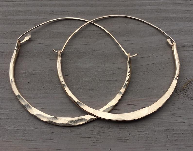 Gold Hoop Earrings / Large Hoops /Hammered Hoops / image 0