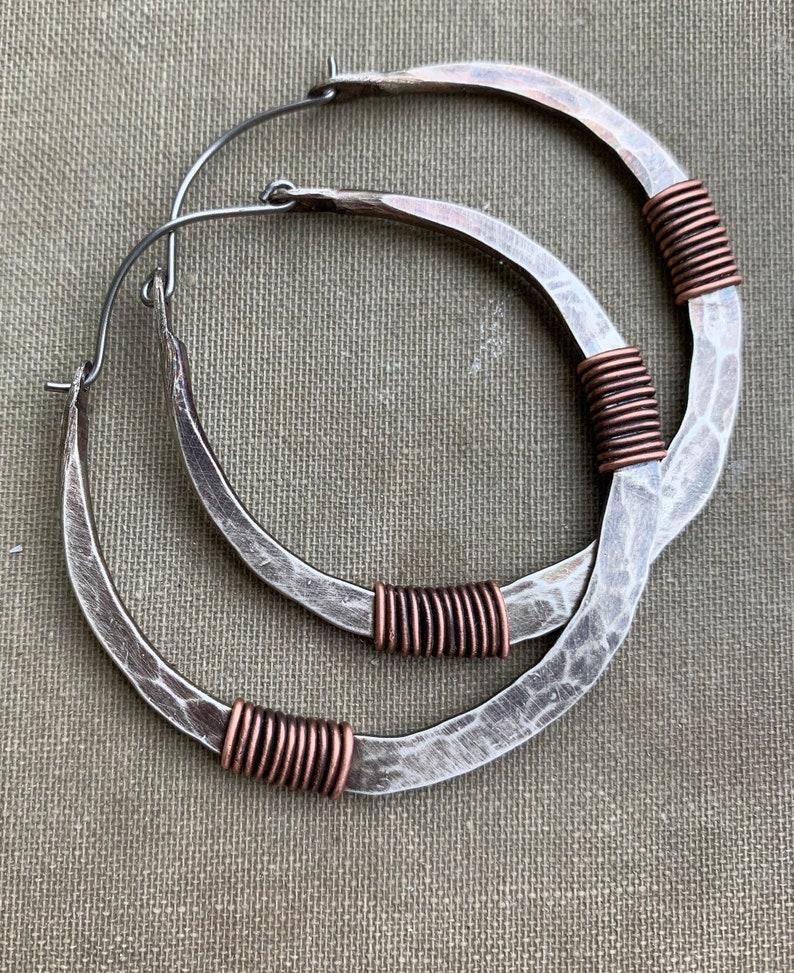Sterling Silver Hoop Earrings Silver Hoops Wire Wrap image 0