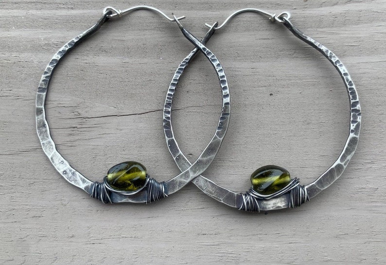 Sterling Silver Hoops / Olive Green / Silver Hoops / Hoop image 0