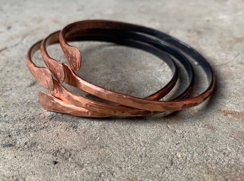 Copper Bangle Bracelets / gift for her / Bangle Set / Copper image 0