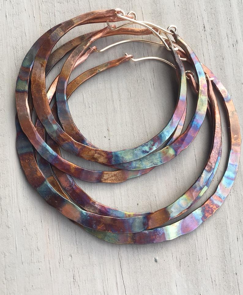 Copper Hoop Earrings Large Hoops Rainbow  Small Hoop image 0
