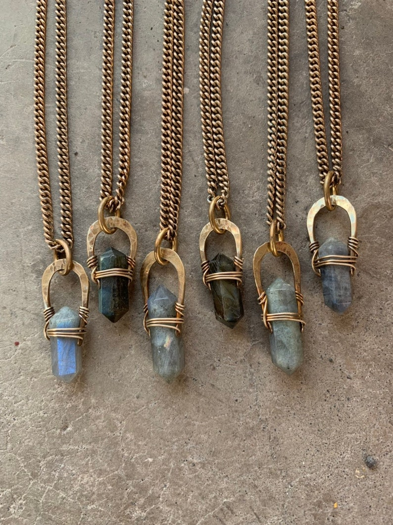 Crystal Necklace / Labradorite Point / Crystal Pendant / image 0