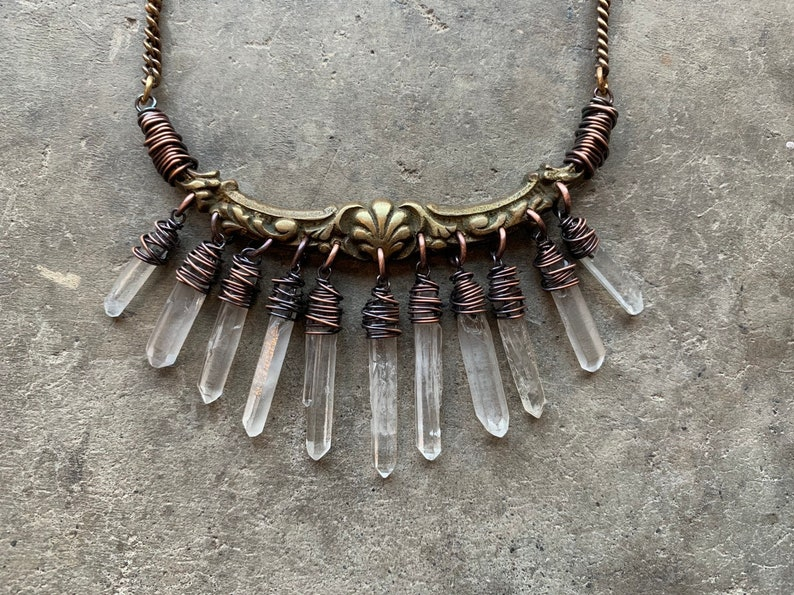 Raw Crystal Necklace / Tribal / Bib Necklace / Statement image 0