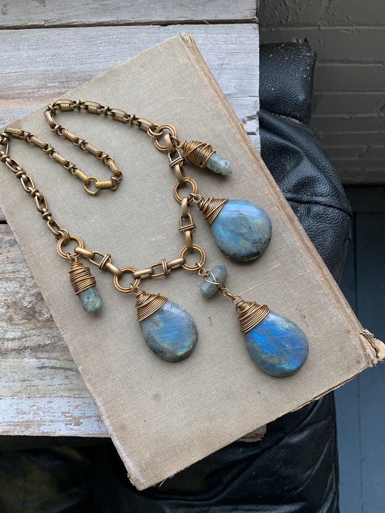 Statement Necklace / Labradorite / Wire Wrap Crystal /Bib image 0