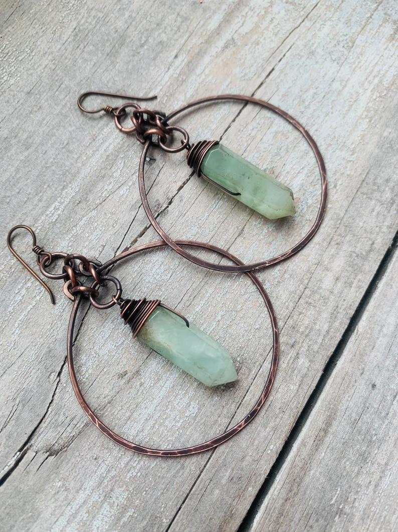 Hoop Earrings  / Crystal Earrings / Prehnite Earrings / image 0