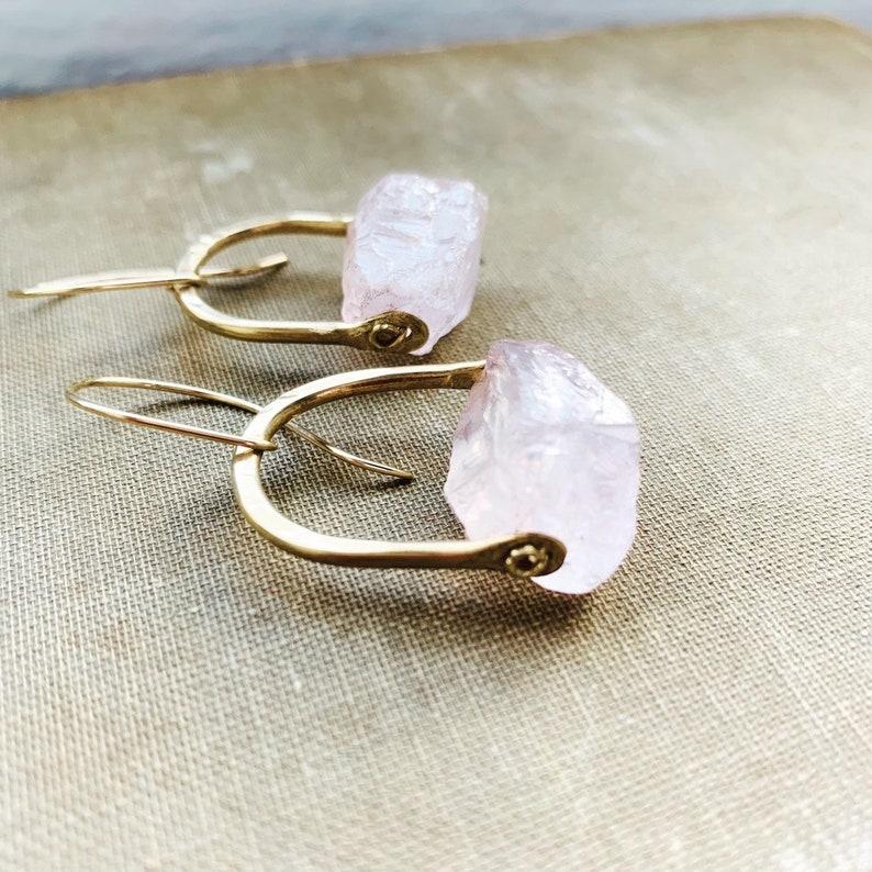 Raw Rose Quartz Earrings Healing Crystal Earrings Rustic image 0
