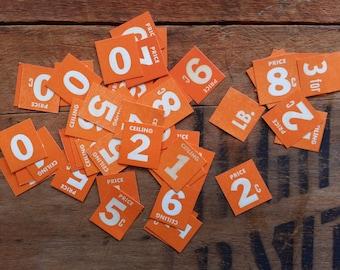 number tiles - shop price tickets - orange - cardboard tiles - 50