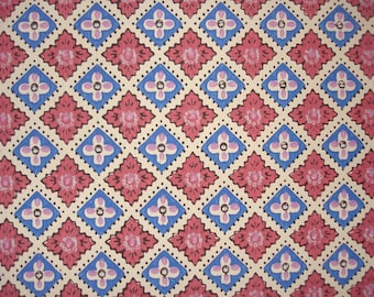 vintage wallpaper - pink and blue square - per half yard