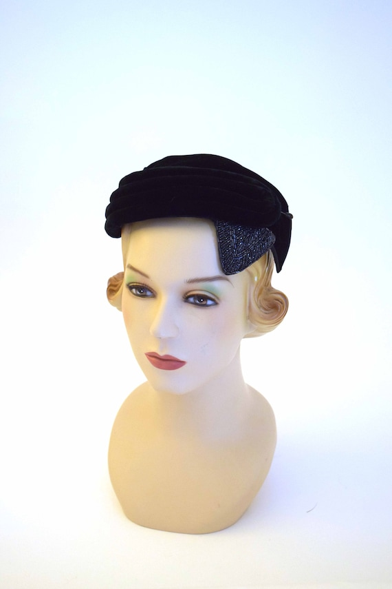 1950s Casque Hat | 50s winter velvet hat