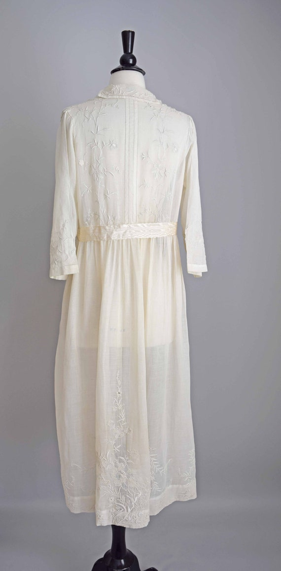 1910s off white cotton voile dress | embroidered … - image 7