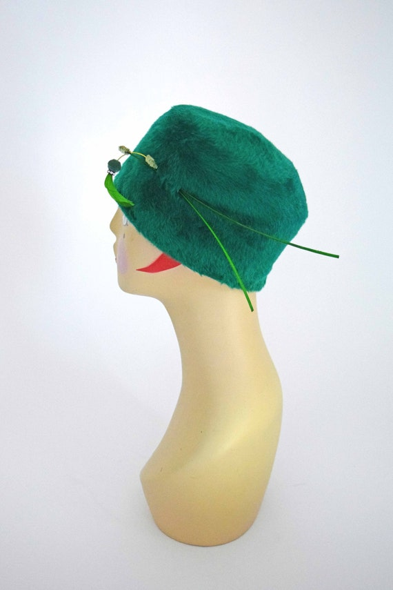 1960s PillBox Hat | 60s Kelly Green Winter Hat