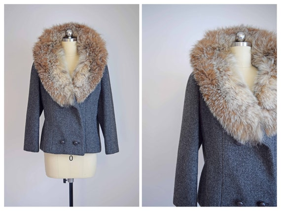 short wool jacket | gray wool jacket with fur coll