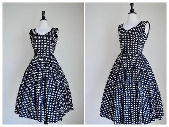 Vintage 1950s Dress - 50s Black and White Dress