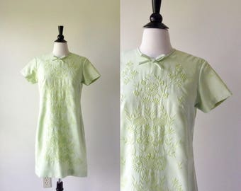 Cricket Green Embroidered Shift Dress | 1960s