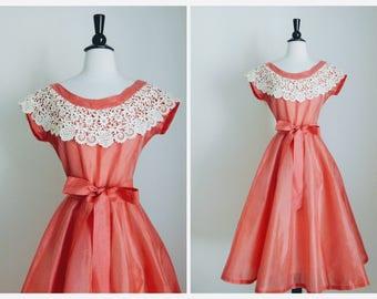 50s Aldenaire Peachy Pink Nylon Chiffon New Look Dress