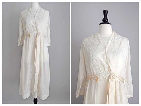 1910s off white cotton voile dress | embroidered … - image 1