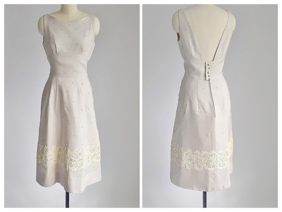 vintage 1950's linen beaded | soutache dress