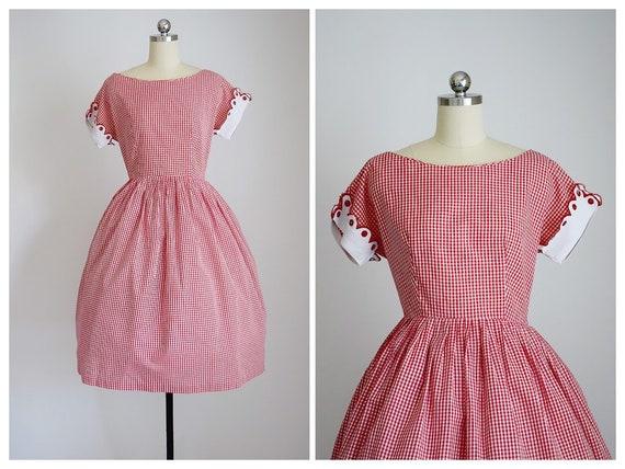 vintage 50s red & white gingham dress