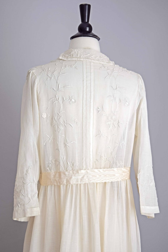 1910s off white cotton voile dress | embroidered … - image 6