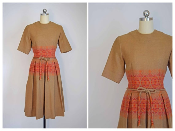 wool folk 50s dress | vintage 1950s dress | 50s wo