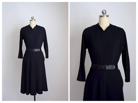 purely simple 1940s black wool knit dress  | small