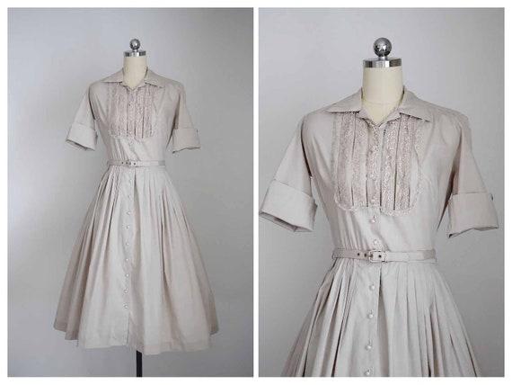 1950s bone colored shirtwaist dress