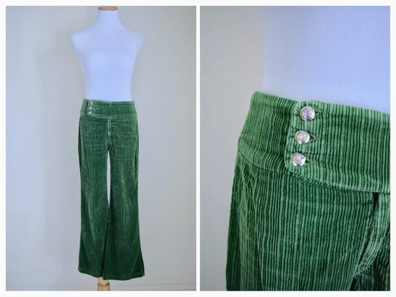 Reserved Corduroy Bell Bottoms 70s Green Cord Pants