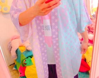 Starry Colorblock Pastel Yume Kawaii Kimono Robe Cardigan Top 91296f5a6