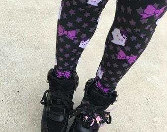 Kawaii Ghost Leggings Tights, Bat Tights, Pastel Goth Tights