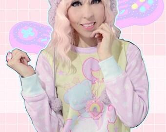 Sweetie Dreams Unicorn Bear Rocking Horse Sweater, Unicorn Sweater, Bear Sweater, Kawaii Sweater, Pastel Sweater