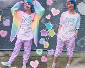 Conversation Candy Hearts pants, Pastel jogger pants, Conversation Candy  Heart Pants, Pastel Heart jogger pants, fairy kei pants, sleepy