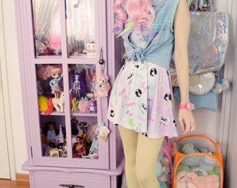 Retro Love Cassette Skirt, Pastel Skirt, Fairy Kei Skirt, Kawaii Skirt,