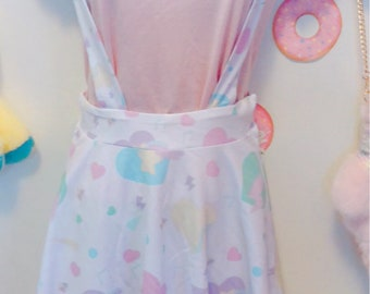 Heart Confetti Party Yume Kawaii Suspender Skirt, Pastel Skirt, Fairy Kei Skirt, Kawaii Skirt,