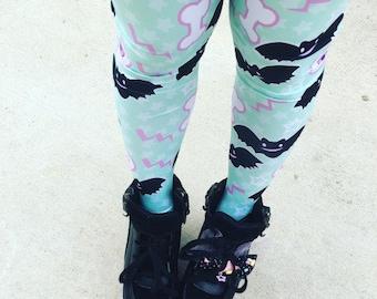 Eyeball Bone Creepy Cute Bat Leggings Tights, Bat Tights, Pastel Goth Tights, Lavender Eyeball Tights