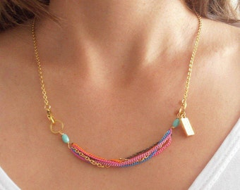 Rainbow Short Gold Necklace.Gold Plated Layered Necklace.Gift for Her. Modern.Birthday Gift.Everyday Jewelry.Sister's Gift.Girls Gift.Gift