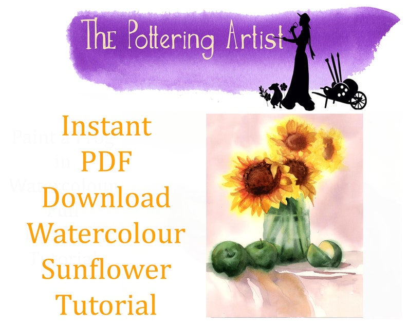 Instant PDF Download  Watercolour Sunflower Tutorial image 0