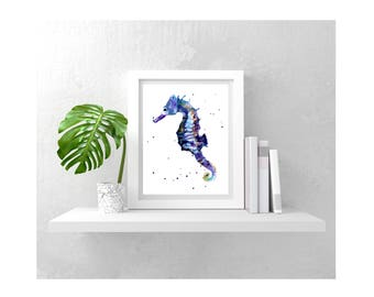 Watercolor Seahorse print, Seahorse Illustration  - several sizes