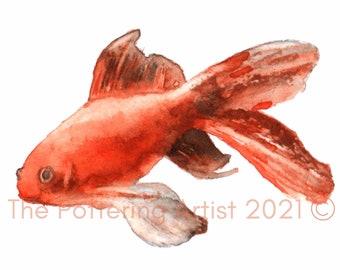 Watercolour Goldfish Print - ready to frame