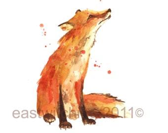 FOX Print, Fox painting, animal lover gift, fox lover gift, 8x10 print, watercolor
