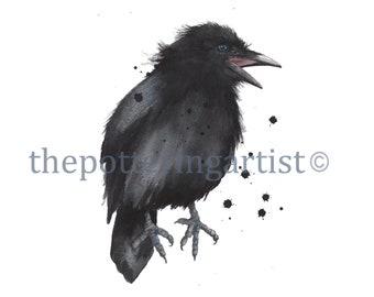 Watercolor Raven Print, Raven Print, Bird Lover gift, Baby raven