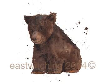 Baby BEAR Pictures, watercolour bear print, UK seller