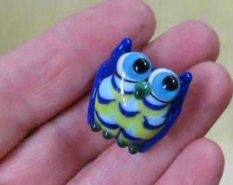 Blue Green Owl Lampwork Glass Bead