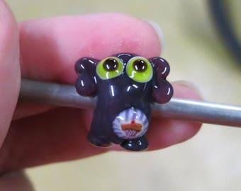 Purple Elephant with Cupcake Lampwork Big Hole Bead