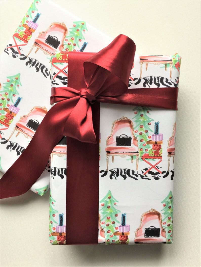 Christmas Gift Wrap French Chair Christmas Rolled Paper Wrapping Paper Festive Chic Interior