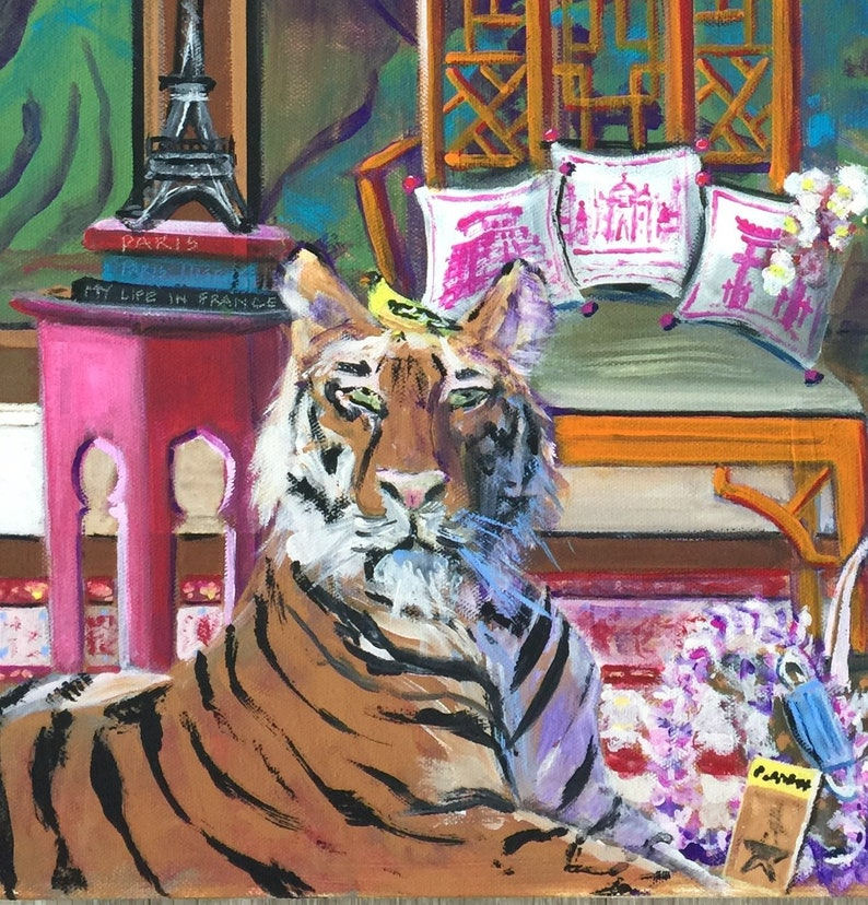 Tiger Painting ORIGINAL FRAMED PAINTING on Stretched Canvas image 0