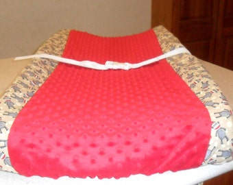 Sock Monkey and Red Minky Dot Changing Pad Cover