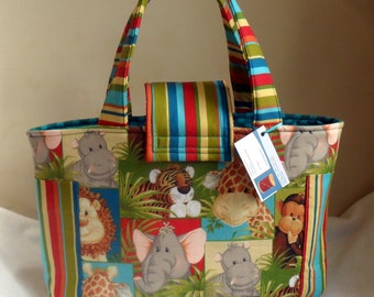 Large Jungle Babies and Stripes Diaper Bag Tote New Print